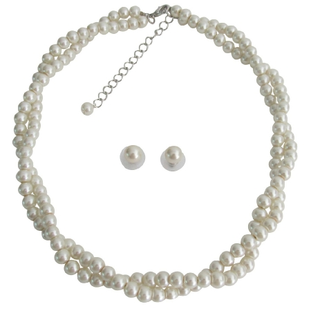 Ivory Pearl Necklace Graduation Prom Twisted Pearl Necklace Stud Earrings