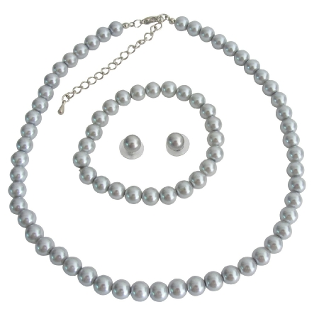 Gray Pearls Wedding Statement Necklace Bridal Jewelry Bridesmaid Necklace Earrings Bracelet