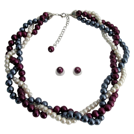 Twisted Statement Necklace Gray Ivory Purple Pearls Wedding Bridesmaid Necklace Set
