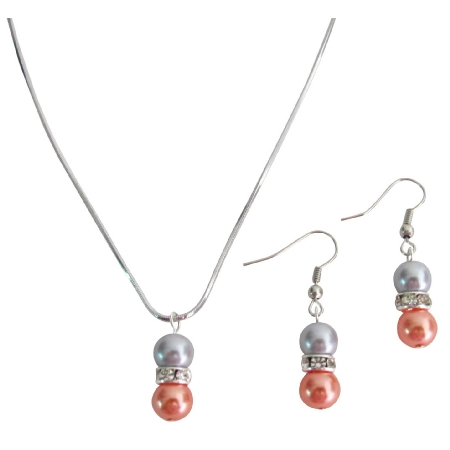 Pearl Drop Down Pendant Earrings Set Orange Gray Pearl Jewelry