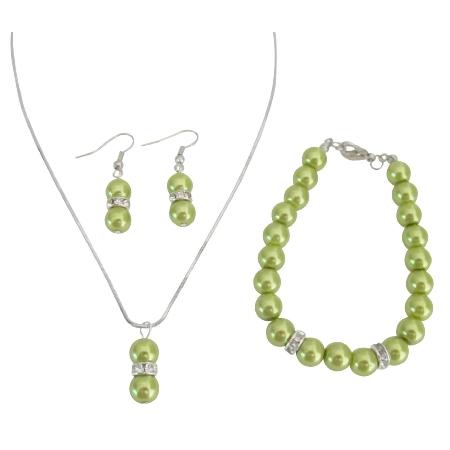 Olive Green Pearl Jewelry Necklace Earrings Bracelet Drop Pearl Pendant Set