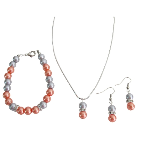 Prom Complete Jewelry Orange Gray Pearl Drop Down Pendant Earrings Set