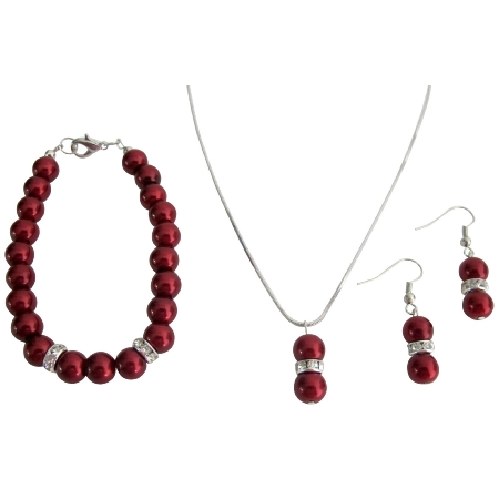 Staff Gift Holiday Time Christmas Jewelry Red Pearl Complete Jewelry Set