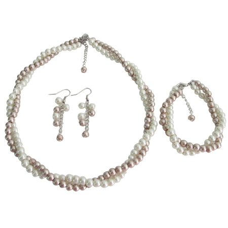 Stunning Necklace Bracelet Earrings Ivory Champagne Pearl Two Strand Jewelry Set