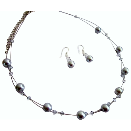 Wedding Jewelry Set Pewter Jewelry Silver Gray with Shadow Crystals