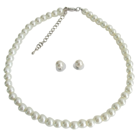 Elegant Ivory Pearl Single Strand Necklace Stud Earrings