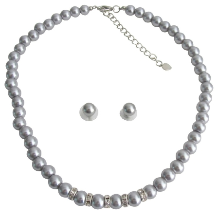 Vintage Personalized Bridal Jewelry Gray Pearl Rhinestones