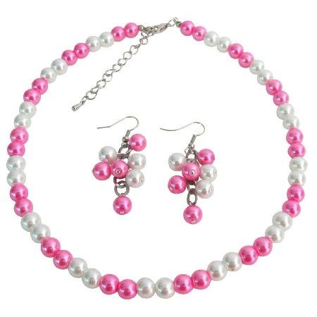Wedding Jewelry In White Hot Pink Cluster Jewelry Cluster Earrings Set