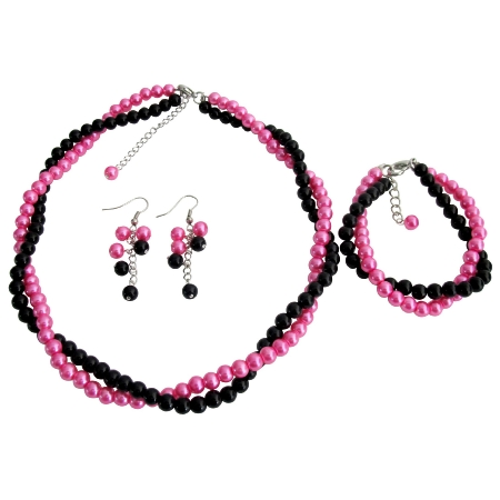 Pink Black Wedding Jewelry Bridesmaid Gift Necklace Earrings Bracelet Set