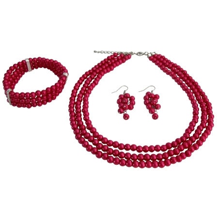 Bridal Jewelry Set Gift 3 Strand Magenta Pearl Necklace Earrings Bracelet Evening Jewelry