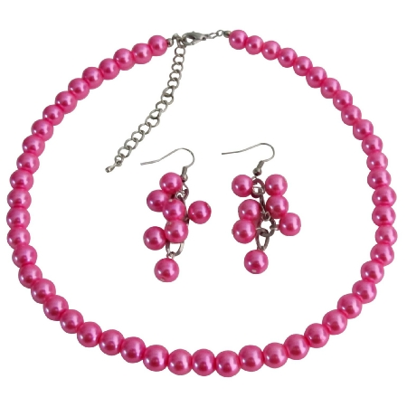 Cluster Least Expensive Jewelry Fuchsia Wedding Necklace Cluseter Earrings