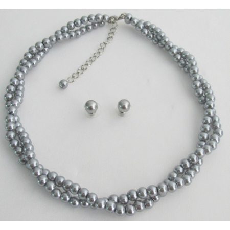 Twisted Gray Pearl Wedding Statement Necklace Bridal Jewelry