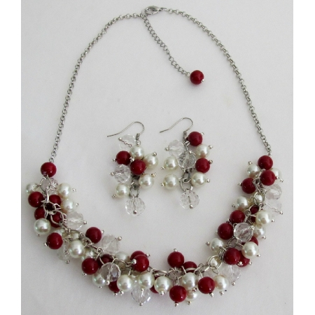 Christmas Necklace Red Ivory Pearls Clusters Necklace Earrings Set