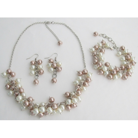 Bridal Prom Wedding Ivory Champagne Necklace Earrings Bracelet Jewelry Set