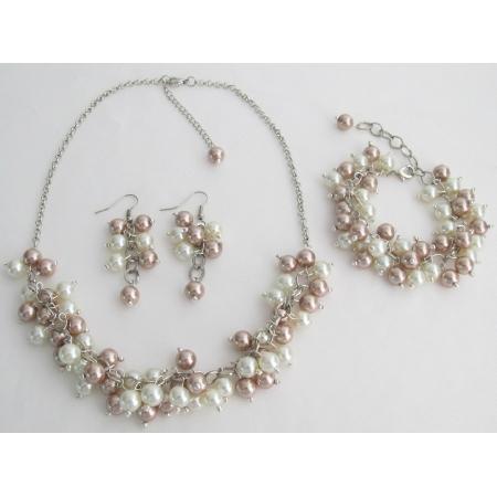 Bridal Prom Wedding Ivory Champagne Necklace Earrings Bracelet Jewelry Set