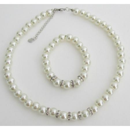 Wedding Jewelry Flower Girl Ivory Pearl Rhinestone Necklace Bracelet Set