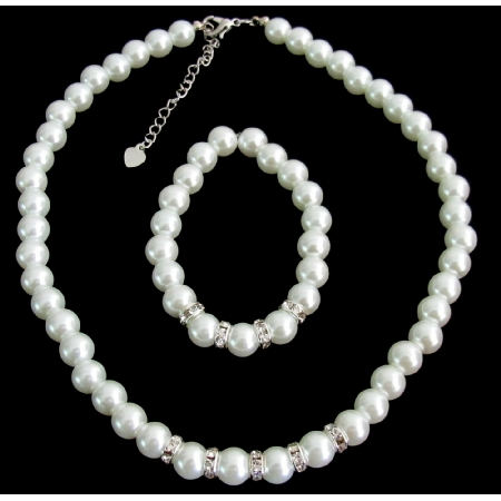 White Pearls Rhinestone Flower Girl Wedding Bridesmaid Bridal Necklace Bracelet Set