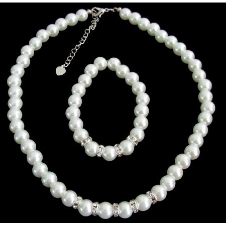 White Pearls Rhinestone Flower Girl Wedding Bridesmaid Bridal Necklace Bracelet Set