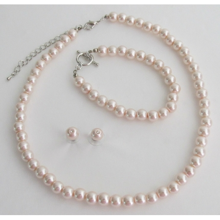 Blush Pink Pearl Necklace Earrings Braceket Wedding Bridesmaid Jewelry