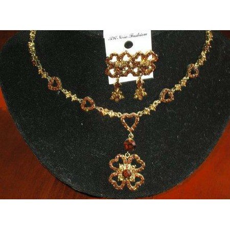 Artform Designer Heart Necklace w/ Attached Flower Jewelry Set