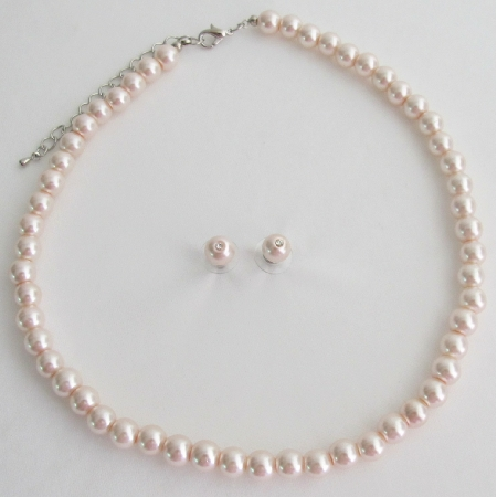 Pale Pink Lite Pink Blush Pink Pearl Necklace Stud Earrings Set