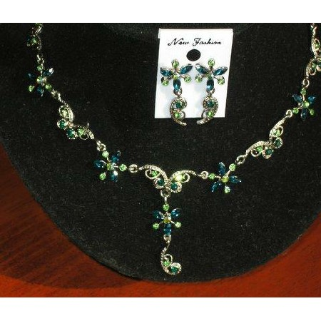 Green Rhinestones Flower Necklace Earrings Set