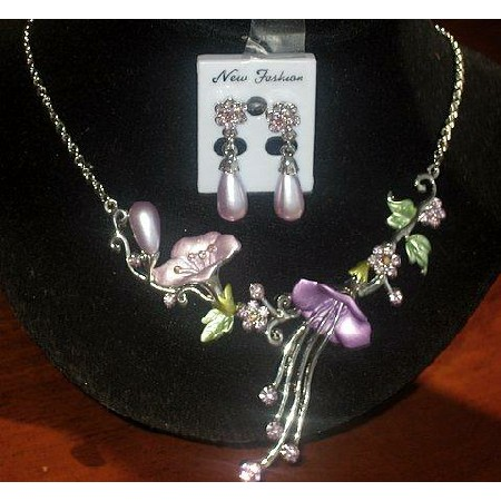 Nice Purple Enamel Flower Necklace Set