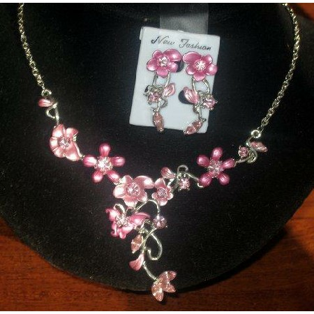 Pink Enamel Flower Plating Rhinestones Jewelry Necklace Set