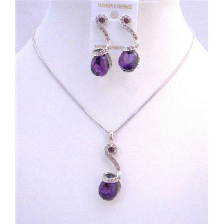 Bridal Bridesmaid Wedding Jewelry Amethyst Teardrop Crystals Necklace