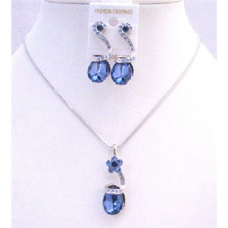 Sapphire Crystals Teardrop Necklace Sleed Dainty Adorable Jewelry Set