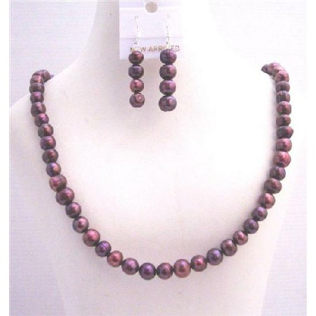 Dark Purple Metallic Purple Freshwater Pearls Necklace Sets