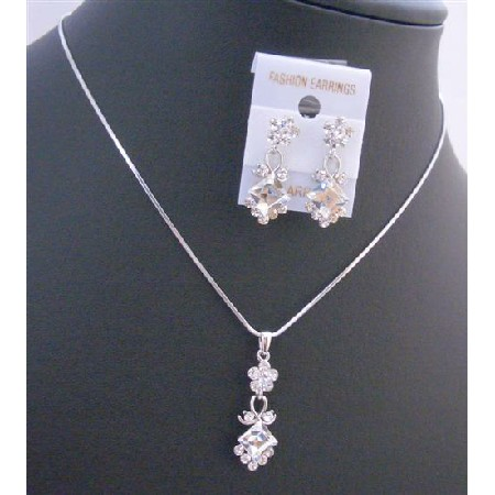 Clear Crystals Wedding Jewelry Inexpensive Bridesmaid Jewelry Set