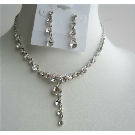 White Opal Stud Clear Crystals Dangling Jewelry Wedding Necklace Set