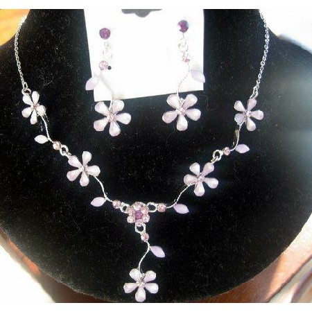 Gorgeous Delicate Purple Enamel Flower Necklace Earrings Set