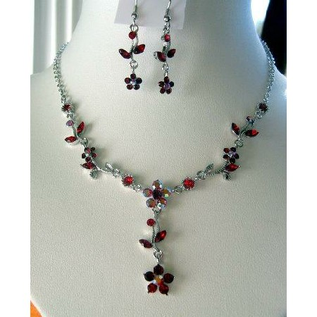 Vintage Delicate Red Crystals Necklace Earrings Set