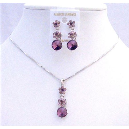 Purple Amethyst Crystals Flower Necklce Set Amethyst Crystal Stud Dangling Wedding Jewelry