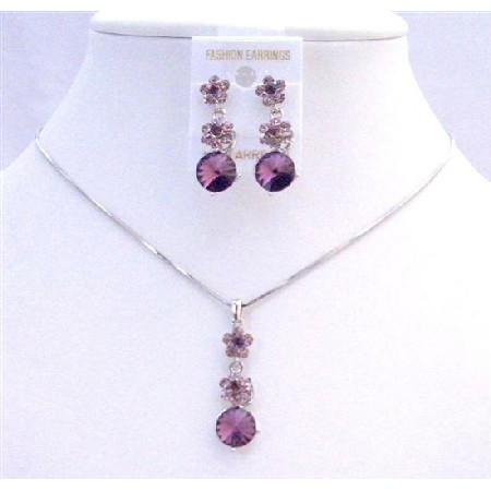 Purple Amethyst Crystals Flower Necklce Set Amethyst Crystal Stud Dangling Wedding Jewelry