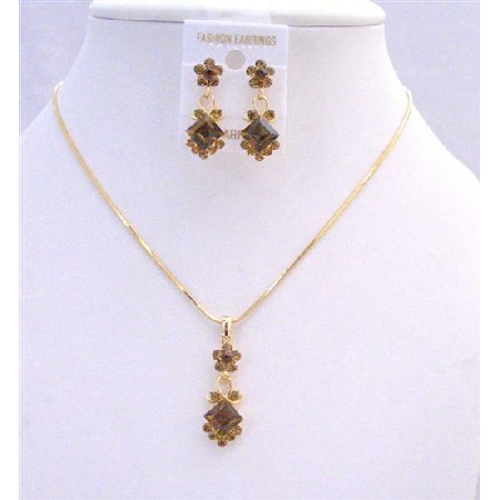 Gold Chain Necklace Light Dark Smoked Topaz Crystal Flower Jewelry Set
