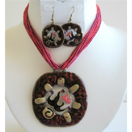 Gorgeous Traditional Red Enamel Necklace Set