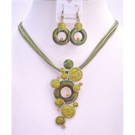 Green Jewelry Olive Rhinestones Multi Strands Olive Green Necklace Set