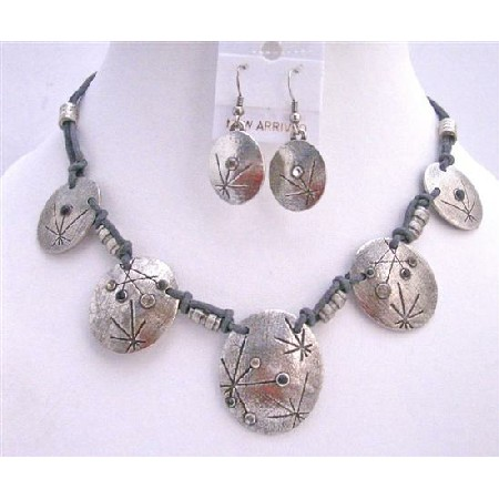 Victorian Choker Silver Metal Bead Jewelry Set Accented Polyster Chord