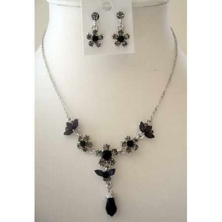 Gorgeous Black Rhinestones Necklace & Earrings Set