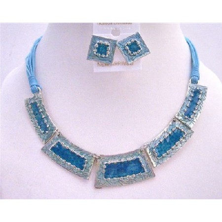 Gorgeous Enameled Ethnic Blue Rectangular Beads Necklace Set