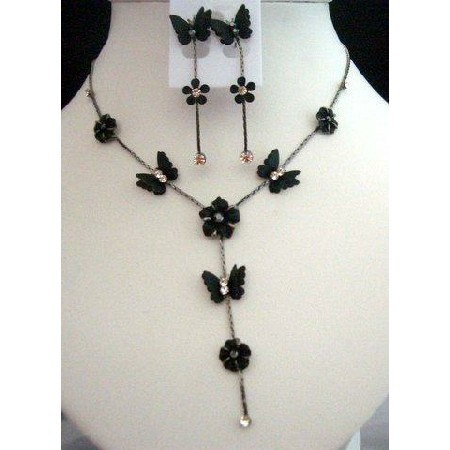 Gorgeous Delicate Black Color Enamel ButerflyY Shaped Necklace Set