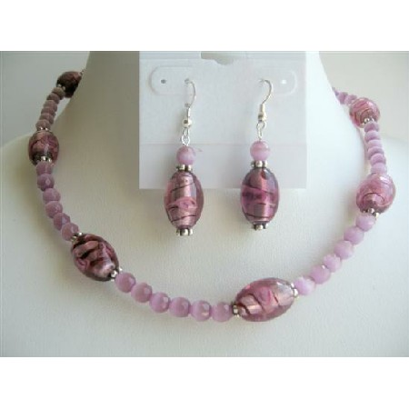 Amethyst Faceted Cat Eye Beads Necklace Set w/ Millefiori Glass Beads
