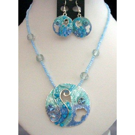 Artform Necklace Set In Turquoise Shell & Bead Crystal w/ Enameled Shell