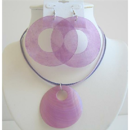 Sexy Purple Round Shell Chandelier & Pendant w/ Strings Necklace