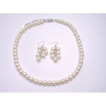 Cream Pearls Necklace Delicate Bridesmaid Simulated Pearls Jewelry