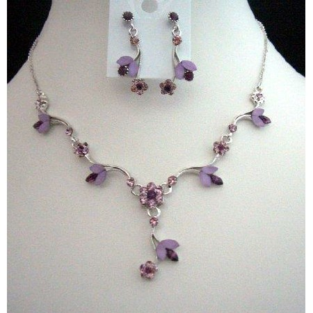 Gorgeous Delicate Purple Crystals Necklace Earrings Set
