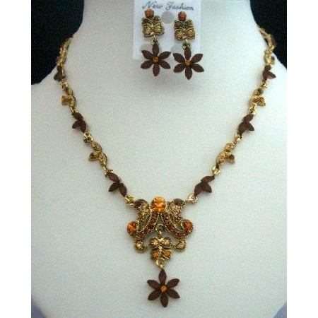 Vintage Necklace Set in Smoked Topaz Light & Dark w/ Antique Gold
